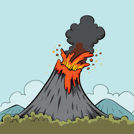 Lava spews from the mouth of a cartoon volcano. Stok Fotoğraf