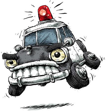 Een cartoon politie auto haast zich naar de scène. Stockfoto