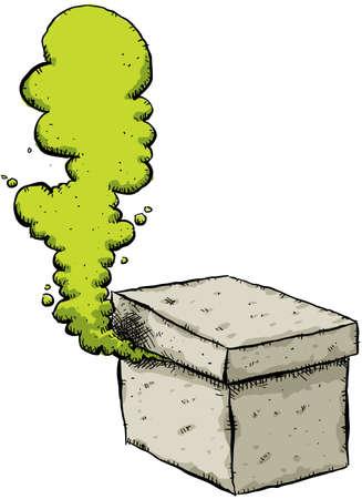 Un gas verde se filtra de una misteriosa caja de cartón. Foto de archivo - 12186019