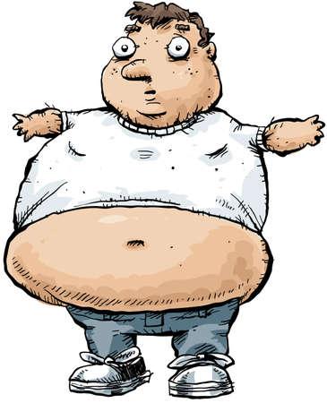 あまりにもタイトな t シャツを着ている男性の肥満。