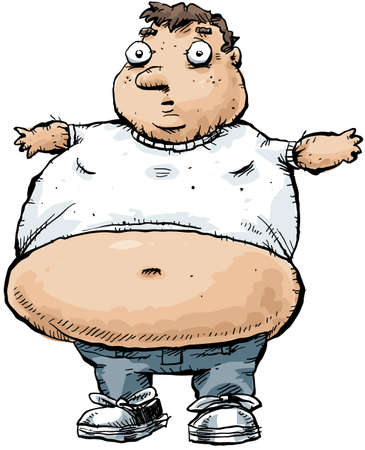 An obese man wearing a tshirt that is too tight. Standard-Bild