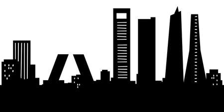 Cartoon skyline silhouette of the city of Madrid, Spain.