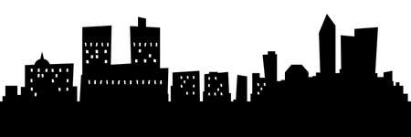 Cartoon skyline silhouette of the city of Oslo, Norway.