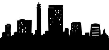 Cartoon skyline silhouet van de stad Birmingham, Engeland.