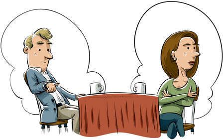 incompatible: A cartoon man and woman fail to connect on a first date.