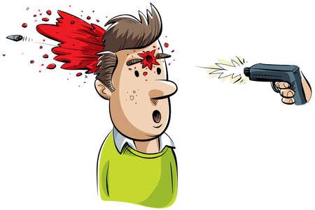 gunshot: A cartoon man is shot in the head by a gun