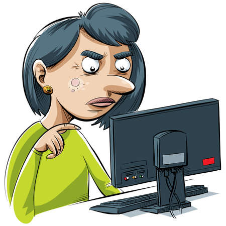 A cartoon woman is frustrated by her computer. Stockfoto