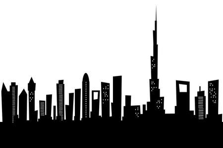 city building: Cartoon skyline silhouette of the city of Dubai, United Arab Emirates.