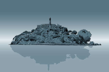 barren: An illustration of Alcatraz prison.