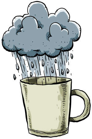 A stormy cloud rains into a mug. photo