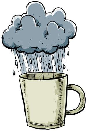 rains: A stormy cloud rains into a mug.
