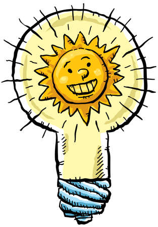 generates: The sun generates light inside a lightbulb.