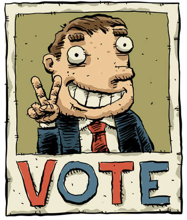 A cartoon election poster with candidate pictured.