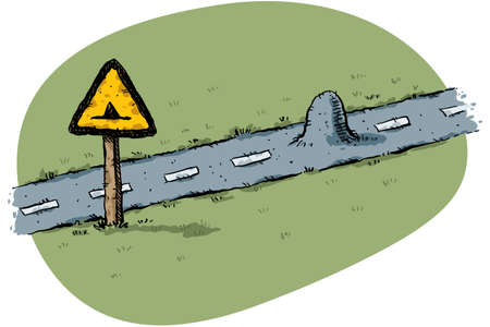 warns: A cartoon traffic sign warns of a small bump in the road.
