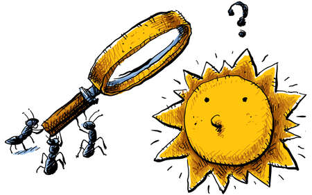 teamwork cartoon: A group of cartoon ants attempt to attack the sun with a magnifying glass. Stock Photo