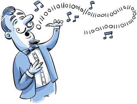 A cartoon singer sings a song in binary digits.
