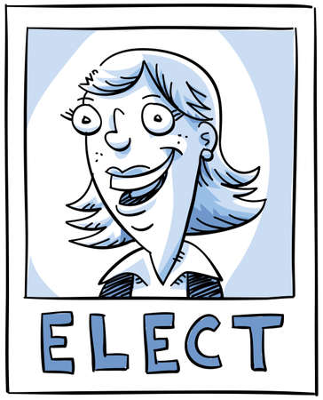 A woman candidate smiling on an election poster.