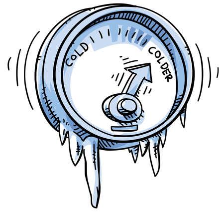 Een cartoon temperatuurmeter met koud en kouder.
