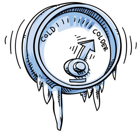 resfriado: Un medidor de temperatura caricatura que muestra fr�o y m�s fr�o.