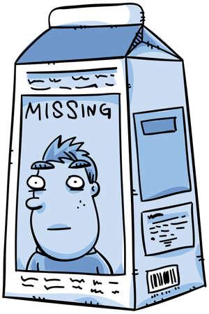Een vermiste persoon mededeling betreffende een cartoon pak melk. Stockfoto