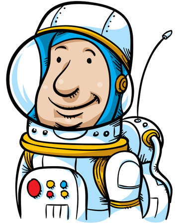 grinning: A grinning, cartoon astronaut. Stock Photo
