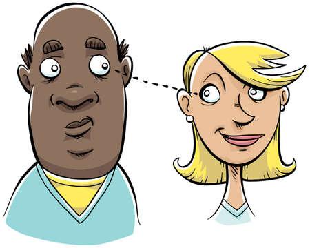 coy: A man and a woman make eye contact.