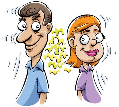 dibujos animados de mujeres: Un hombre y una mujer est�n unidos por una atracci�n invisible, magn�tico.