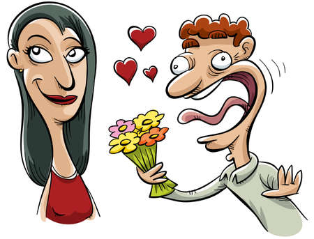 infatuated: A woman keeps her cool as a silly man becomes infatuated with her. Stock Photo