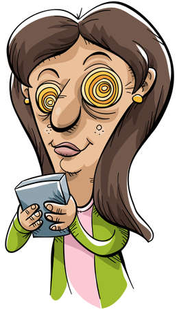mobile device: A cartoon woman is hypnotized while texting on her mobile device.