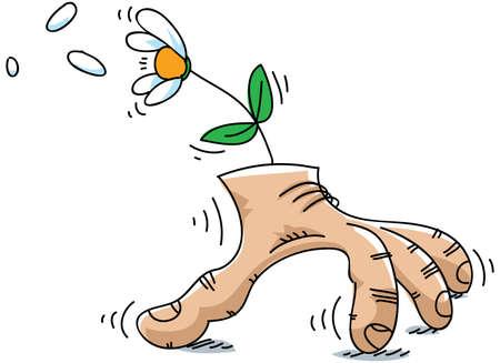 A lo largo de escabulle mano con una flor en ella. Foto de archivo - 14651786