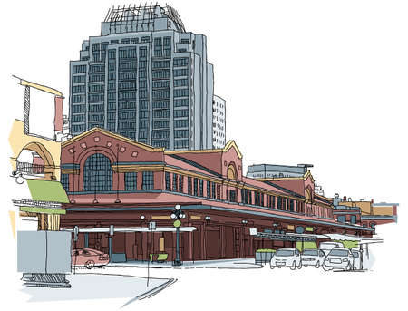 market place: Illustration of the Byward Market in Ottawa, Canada. Stock Photo