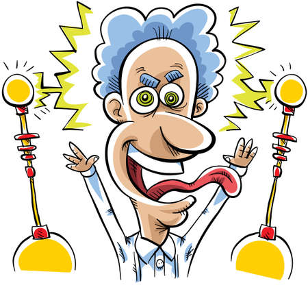 mad man: A mad scientist is excited with electricity Stock Photo