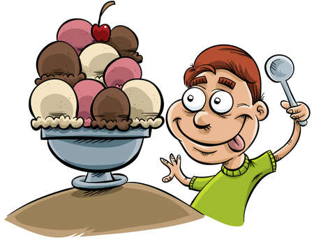 A cartoon boy gets ready to eat a large bowl of ice cream.