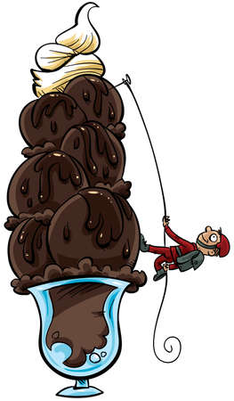 A man climbs a delicious chocolate sundae. photo