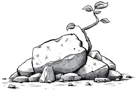 barren: A cartoon sapling grows from a pile of rocks. Stock Photo