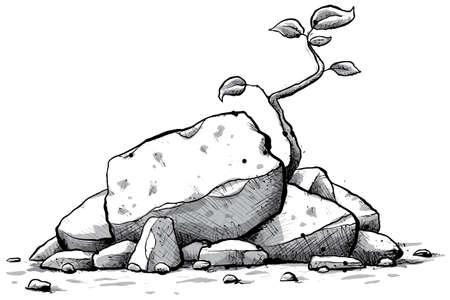 barren: A cartoon sapling grows from a pile of rocks. Stock Photo