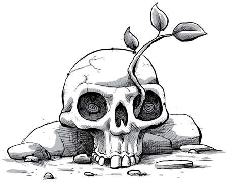 barren: A cartoon sapling grows from a skull. Stock Photo