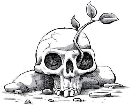 barren: A cartoon sapling grows from a skull. Stock Photo
