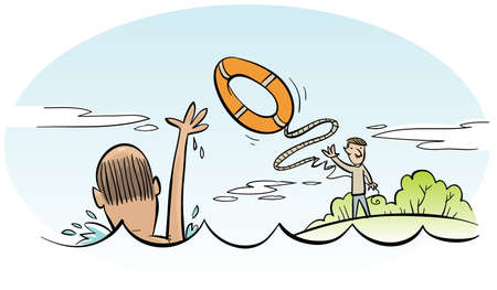 drowning: A cartoon man rescues a drowning man