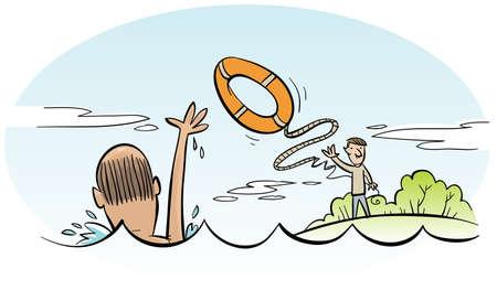 A cartoon man rescues a drowning man