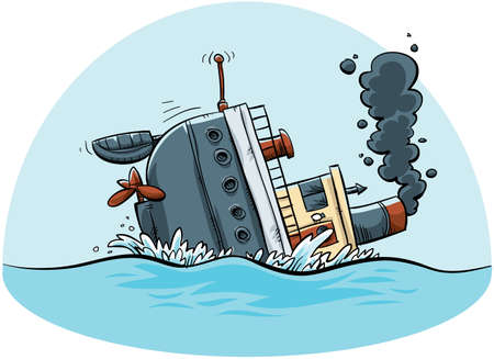 A cartoon ship sinks  Archivio Fotografico