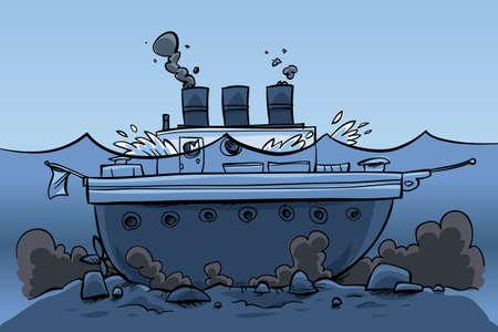 Een cartoon schip, zitten aan de bodem van de zee