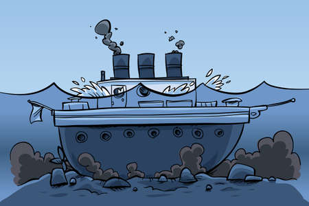 A cartoon ship, sitting at the bottom of the sea