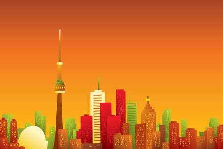 Cartoon skyline of the city of Toronto, Canada in the dawn light.