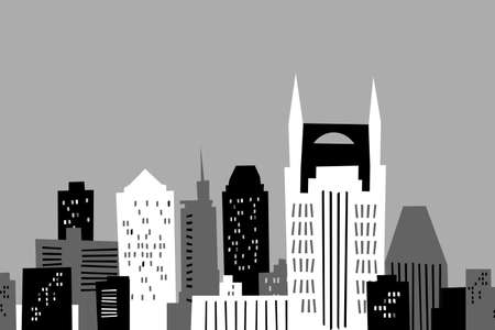 tennessee: Cartoon skyline of Nashville, USA. Stock Photo