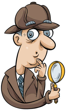 investigating: A cartoon detective holding a magnifying glass.