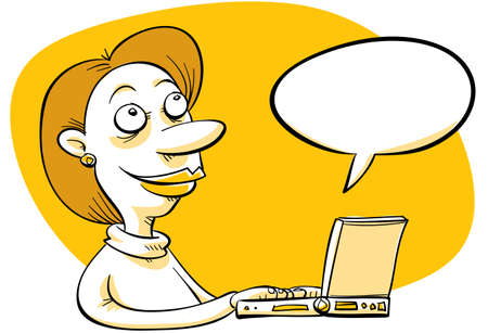 blogger: A cartoon blogger expresses herself on her laptop. Stock Photo