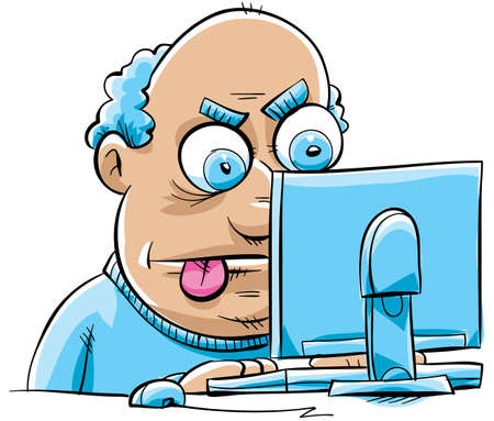 A frustrated cartoon man updates his blog on his desktop computer.