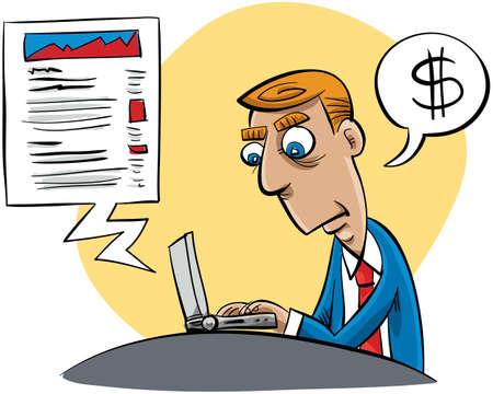 updating: A cartoon businessman updating his business blog.