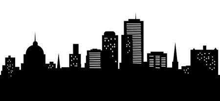 Cartoon skyline silhouette of the city of Harrisburg, Pennsylvania, USA.
